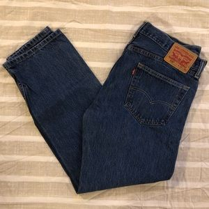 Levi's 505 Men's Regular Fit Dark Blue Jeans 34x30